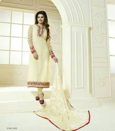 Buy Cream embroidered georgette unstitched salwar with dupatta dress-material online