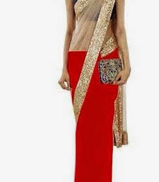 Buy Striking Red & Gold half half Saree georgette-saree online