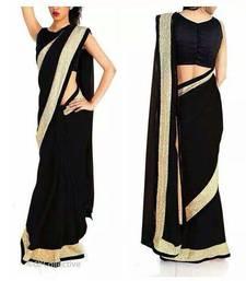 Buy Chic Black Georgette Saree with Gold Border georgette-saree online