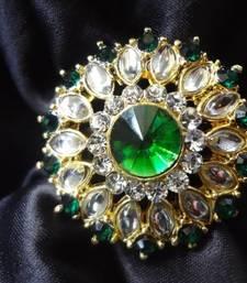 Buy Green Stone,Kundan & Ad stone Adjustable Ring Ring online