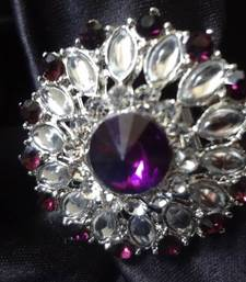 Buy Purple Stone,Kundan & Ad stone Adjustable Ring Ring online