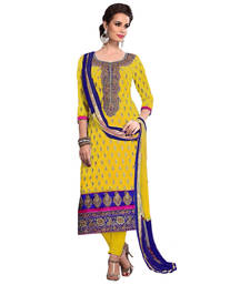 Buy Yellow embroidred chanderi unstitched salwar with dupatta dress-material online