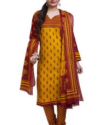 Buy Yellow plain cotton unstitched salwar with dupatta ethnic-suit online