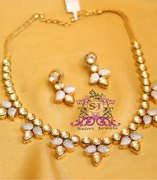 Buy Gorgeous Kundan & Diamond Fusion Necklace Set  necklace-set online