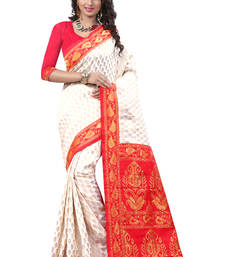 Buy White hand woven crepe saree with blouse cotton-saree online