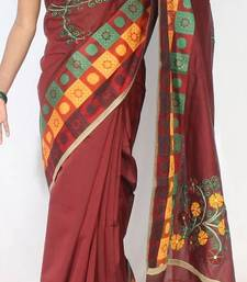 Buy Banarasi chanderi cotton fancy handwork border saree chanderi-saree online