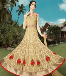 Buy Gold embroidered art silk semi stitched salwar with dupatta wedding-salwar-kameez online