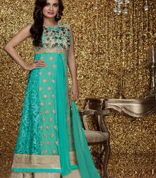 Buy Rama embroidered work net semi stitched salwar with dupatta semi-stitched-salwar-suit online