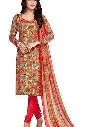 Buy Multicolor printed crepe unstitched salwar with dupatta multicolor-salwar-kameez online