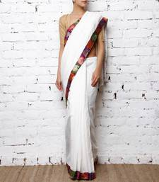 Buy White Saree with Brocadde border cotton-saree online