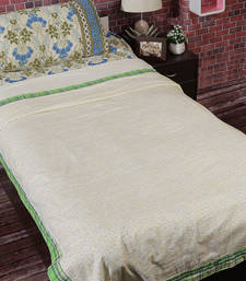 Buy Cream & Green Cotton Floral & Chekered Print Single Bed Dohar (Set of 2) duvet-cover online