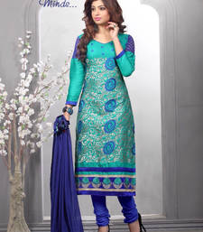 Buy Green embroidered cotton unstitched salwar with dupatta dress-material online