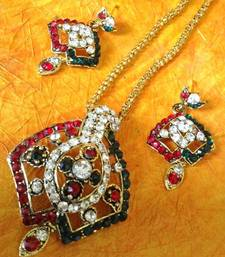 Buy Maroon green sparkling stone with maroon stone diamentes with Indian pendant set Pendant online