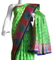 Buy Banarasi Chanderi Silk Saree With Border banarasi-silk-saree online
