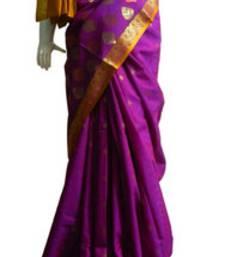 Buy Banarasi Art Silk Dark Purple Saree With Zari Work and Blouse banarasi-silk-saree online