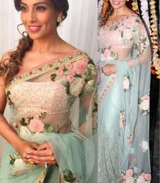 Buy Sky blue embroidered net saree with blouse bipasha-basu-saree online