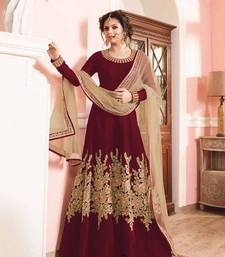 Buy Maroon embroidered silk semi stitched salwar with dupatta semi-stitched-salwar-suit online