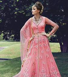 Buy Pink embroidered net semi stitched salwar with dupatta semi-stitched-salwar-suit online