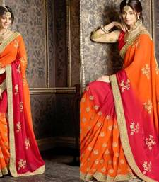 Buy Orange embroidered cotton silk saree with blouse cotton-saree online