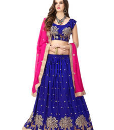 Buy Blue embroidered art silk unstitched lehenga ghagra-choli online