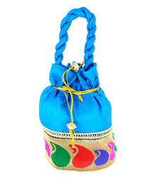 Buy Goldencollections Blue Hand Pouch potli-bag online
