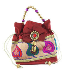 Buy Goldencollections Leaf Marron Hand Pouch potli-bag online