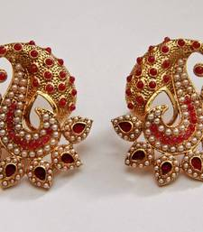 Buy Paisely Halfmoon Studded Earrings - Red danglers-drop online