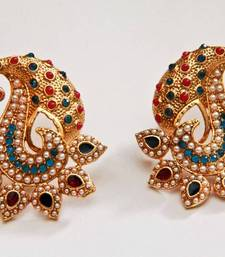 Buy Paisely Halfmoon Studded Earrings -  Navy Blue & Red danglers-drop online