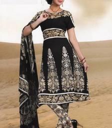 Buy Elegant Crepe Designer Printed Unstitched Dress Material Suit D.No AM1125 dress-material online