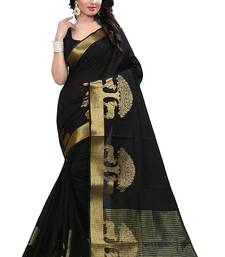 Buy Black printed cotton silk saree with blouse cotton-silk-saree online