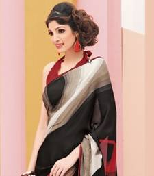 Buy lookslady black georgette saree printed-saree online