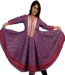 Buy Dorabella Women's Designer Cotton Anarkali [N1176B_Purple] kurtas-and-kurti online