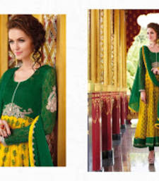 Buy Yellow and Green colored Cotton and Net Anarkali Party Wear Suit pakistani-salwar-kameez online