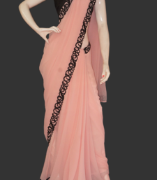 Buy peach and black geo georgette-saree online