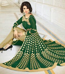Buy Green embroidered georgette semi stitched salwar with dupatta wedding-salwar-kameez online