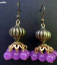 Buy Pinkish_Purple_Antique_Golden_Jhumka jhumka online