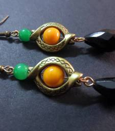 Buy Green_Yellow_Black_Drop_Inline_Earrings danglers-drop online