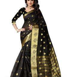 Buy Black plain polycotton saree with blouse banarasi-silk-saree online