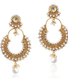 Buy Kundan colourful pearl bali hoop earring,Ethnic Indian Bollywood Jewelry c467 hoop online