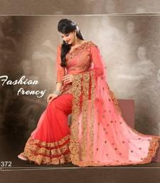 Buy Peach Colour Soft Net With Heavy Jari Embroidery Work Saree372 net-saree online