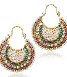 Ethnic Indian Vintage Jewelry- Maroon green , body of pearl bali earring vi633mg