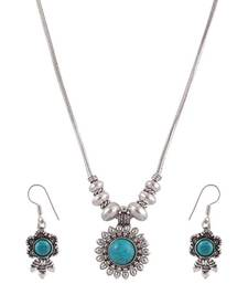 Buy Blue Stone simple Ethnic Style Necklace Set  necklace-set online