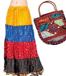Buy Buy Bandhej Colorful Skirt n Get Shoulder Bag Free skirt online