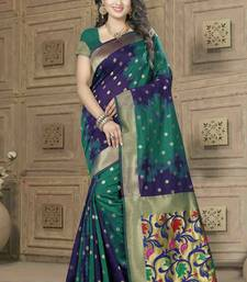 Buy Navy blue woven banarasi silk saree with blouse banarasi-saree online