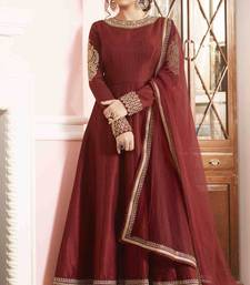 Buy Maroon embroidered bhagalpuri cotton salwar semi-stitched-salwar-suit online