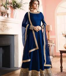 Buy Blue embroidered bhagalpuri cotton semi stitched salwar with dupatta semi-stitched-salwar-suit online