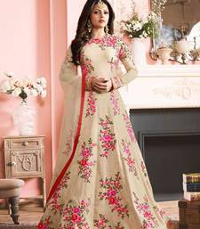 Buy Beige embroidered bhagalpuri cotton semi stitched salwar with dupatta semi-stitched-salwar-suit online