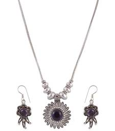 Buy Purple Stone simple Ethnic Style Necklace Set  necklace-set online