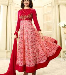 Buy Pink embroidered georgette salwar anarkali-salwar-kameez online