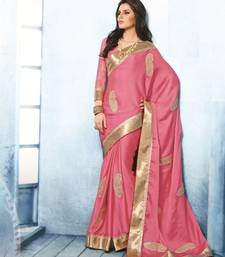 Buy NeelFab Pink Satin Chiffon Designer Saree satin-saree online